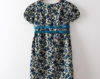 CLEARANCE vintage 1960s floral dress // 60s blue mini dress