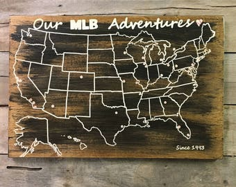 baseball travel map us wood map usa travel map mlb personalized pin map map with pins united states map rustic