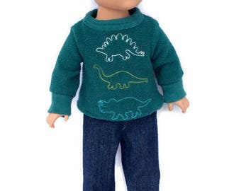 Dinosaur Shirt and Blue Jeans, 18 Inch Doll Clothes, Boy Doll Clothes, Upcycled Shirt, Winter Doll Clothes, OOAK