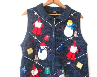 Vintage 90s SNOWMAN SANTA Ugly CHRISTMAS Holiday Sweater Vest Sz M
