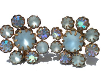 Frosted Blue Glass Clip Earrings with Aurora Borealis Rhinestone Accents, Vintage Jewelry