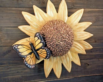Cremation Urn, Artistic Flower Sculpture- Large Garden Sunflower & Butterfly for Wife, Mom, Sister-  Unique Funeral Urns for Human Ashes