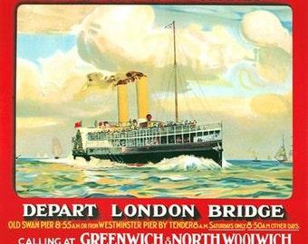 Vintage Thames Steamers Daily Sea Trips to Yarmouth Poster A3 Print