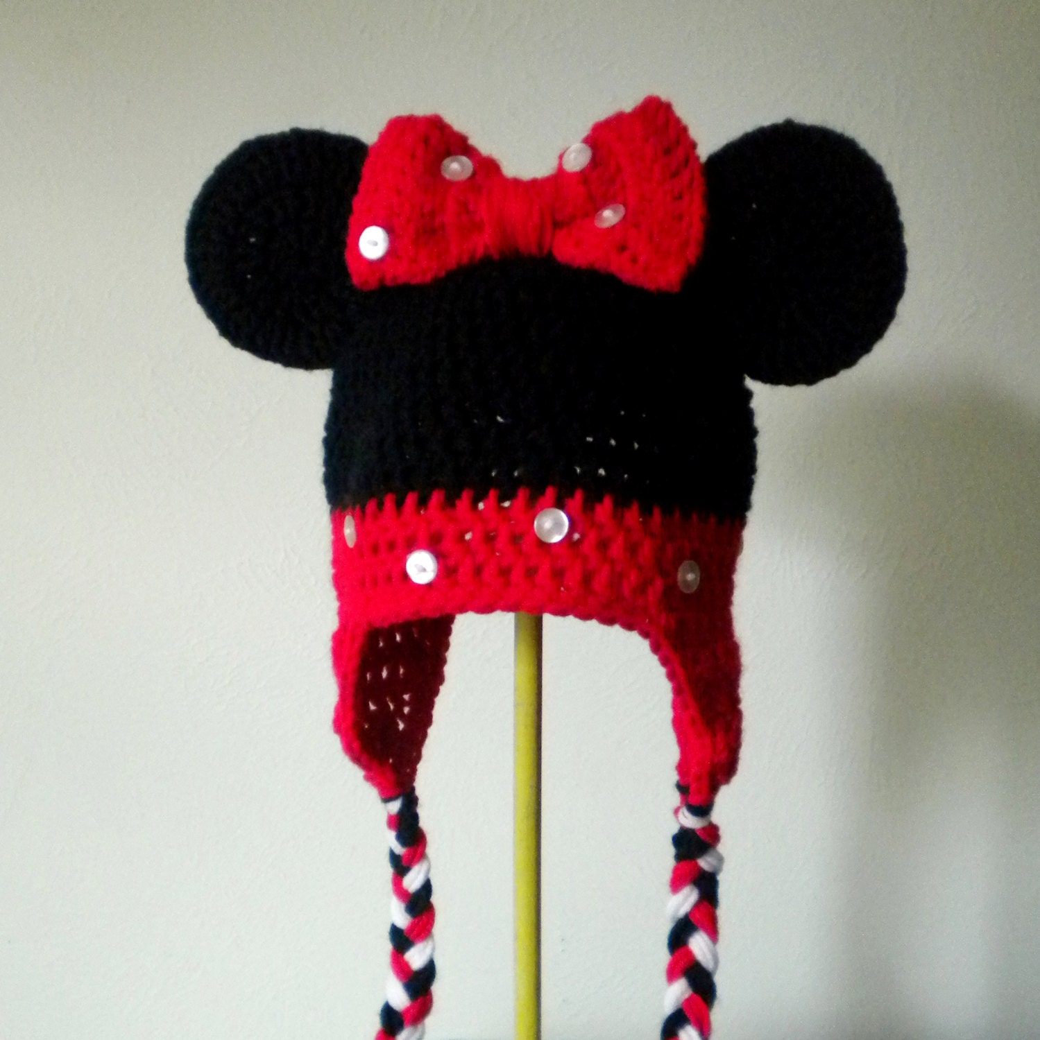 Minnie Mouse Crochet Hat in Black and Red with Ears and Braids