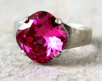 Fuchsia | Swarovski Ring | Swarovski Crystal | Cushion Cut | Fuchsia Jewelry | Gift For Her | Fuchsia Pink Ring | Pink Wedding | Silver Ring
