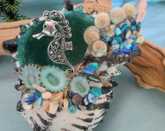 Beach table top decor_seashell and seahorse decor_coastal decor