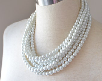 Michelle - White Pearl Bridesmaid Multi Strand Statement Necklace