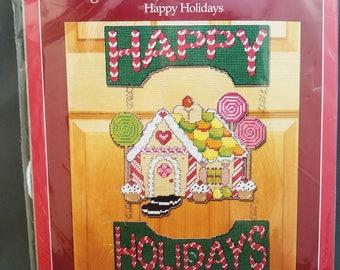 Holiday Time, Happy Holidays door greeter, plastic canvas, 10x16, NIP, DIY, 1413