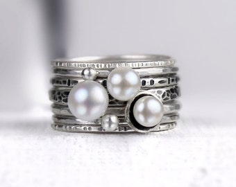 Freshwater Pearl and Silver Stacking Rings with Dotted Bands, Mixed Texture and Finishes, Set of Seven Stackable Rings, White Pearl Rings