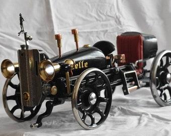 Steampunk sculpure car sewing machine
