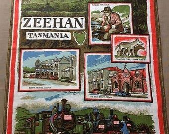 Vintage Tea Towel Souvenir of Zeehan Tasmania 100% Linen