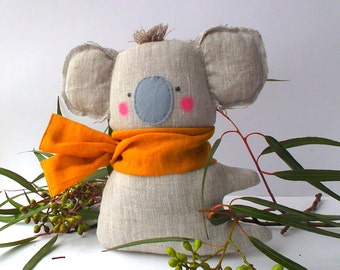 "Plush Koala linen toy, koala pillow, baby Koala, cuddly and cute.  21 cm (8.5 "") Neutral color orgnic textile. Baby shower, birthday gift"