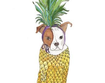 Pineapple Decor Gift, Pit Bull Dog Lover Art Gift, Pineapple Wall Art, Pit Bull Decor, Pit Bull Lover Gifts For Women,Funny Animal Art Print