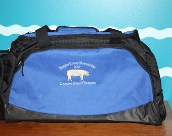 Livestock Award - Livestock Duffle Bag - Custom Award - Livestock shower - Show Barn Award - Fair Awards - Embroidered Bag - Custom Gift