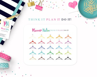 Dry Cleaning Planner Stickers Hanger Planner Stickers - For Erin Condren, MAMBI, Filofax, Plum Planner, Kikki K personal planners & more!