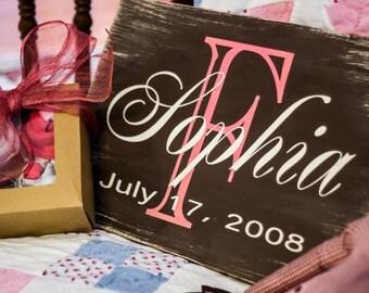 Custom Baby Name Board Wood Sign Nursery Birthday Shower Gift Country Decor