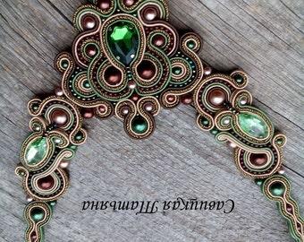 Elegant Soutache Oriental Necklace - Soutache Green Brown Necklace - Hand Embroidered Soutache Jewelry - Oriental Soutache Jewelry