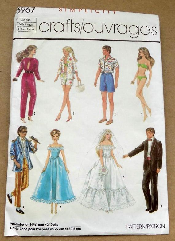 Simplicity 6967 Vintage Barbie Ken Doll Clothes Sewing Pattern Uncut ...