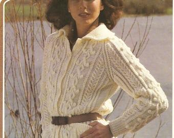 Lady's aran jacket knitting pattern. Instant PDF download!