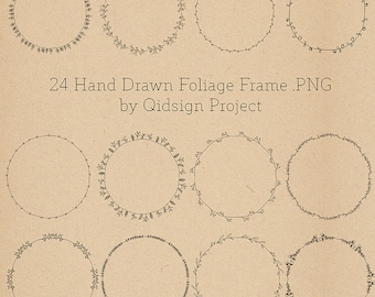 24 hand drawn foliage frames  doodle round borders  digital frames clipart personal and commercial use instant download
