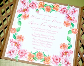 Inspired Collection - Peony Garden Gate-fold Invitation