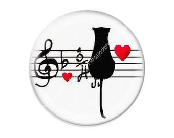 resin cabochon is 25 mm cat heart music c26 stick