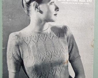 Vintage Knitting Pattern 1930s 1940s Women's Sweater Jumper lacy design 30s 40s original pattern WW2 wartime style Sirdar No. 1138 UK