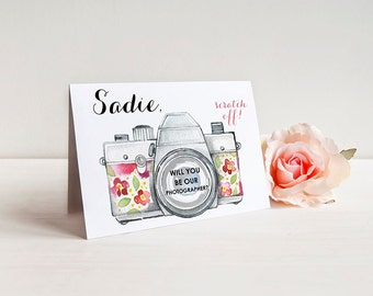 Scratch Off PERSONALIZED Will you be our photographer Card - Photographer Ask Card with Metallic Envelope
