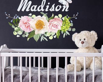 Girls Name Vinyl Wall Decals. Flower Decal. Nursery Decor. Personalized Name Decal. Nursery Name Decor. Kids Room Decor. Crib Decor  (MA243)