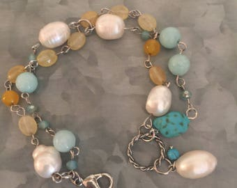 Turquoise, Yellow and Freshwater Pearl Beaded Bracelet