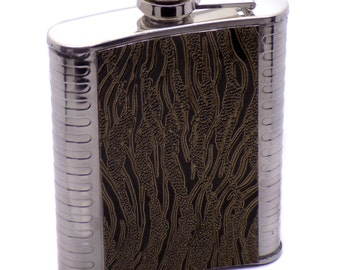 Stainless Steel & Brown Leather Classic Pocket Flask Alcohol Whiskey Liquor Bottle 7 oz. / 207 ml Perfect Gift