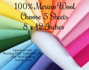 Wool Felt Sheets, Choose FIVE, Pure Merino Wool, 1mm thick, Felt Assortment, Applique, Matching DMC Floss, Wool Stuffing