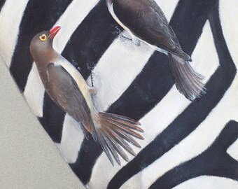 BIRD ARTWORK Realistic 'Red-billed oxpecker' Chalk Pastel DRAWING Red yellow Zebra pattern Nature black white grey Wall art feathers Africa