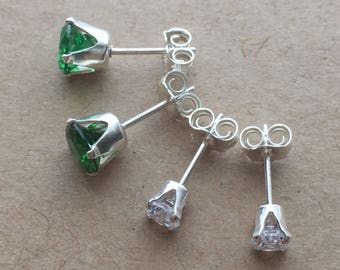 Emerald Green and White Cubic Zirconia Stud Earrings Set. Team Colours CZ Stud Earrings. Wedding Earrings. Football Club Colours