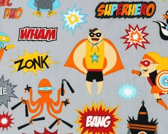 Illustration Ink, Superhero, Superheroes Bright Fabric - REMNANT Size 16 Inches by 44 Inches