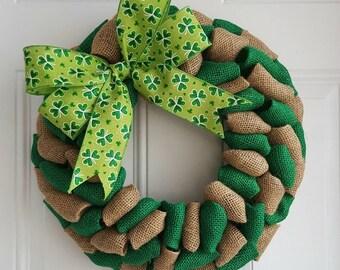 St. Patrick's day wreath~ green burlap wreath~ spring wreath~ irish wreath~ shamrock wreath~ plain wreath~ burlap wreath~ rustic wreath