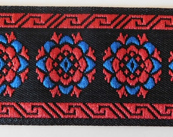 Vintage Jacquard Ribbon Trim Tape~Gorgeous Floral circle design~Royal bue~Red~Black~1-1/8""