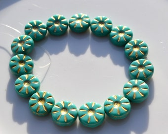 Turquoise Etched 12mm Coin Beads  15