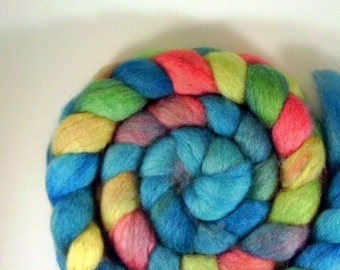 "BFL Top / Roving -  4 oz braid handpainted colorway ""Birds in Flight"""