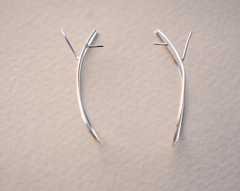 Outward Twig Silver Root Ear Climbers