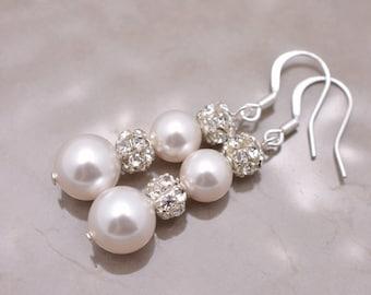 Swarovski Pearl and Rhinestone Earrings, Pearl Bridal Earrings, Long Pearl Earrings, Pearl and Crystal Earrings, Long Wedding Earrings 0031