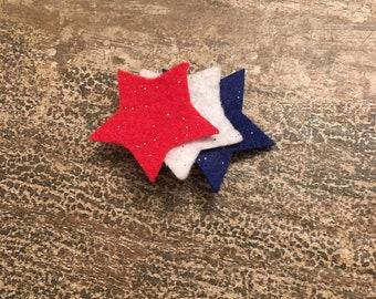 Red, white, and blue felt stars barrette