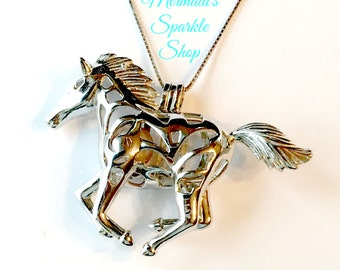 Sterling Horse Pearl Cage Pendant, Horse Jewelry, Sterling Horse Charm, Horse Cage,Horse Lover,Pearl Necklace, Pearl & Chain sold separately