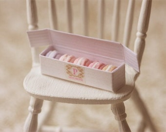 Miniature Food - Dollhouse Assorted Pink Macarons in Elegant Box - For Lati Yellow or Pukifee