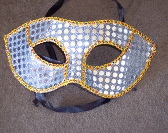 Silver Sequined Craft mask forms to decorate and embellish,eye mask,tie on,Halloween,Mardi Gras,masquerade,DIY craft, costume mask
