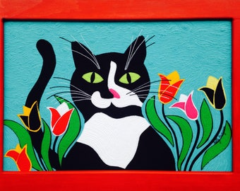 Tuffy 5x7 Thinking of You, Tuxedo Cat, Greeting Card, Folk Art Card, Classic Folk, Fabric Art Card