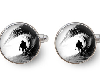 surfer cufflinks surfing cufflinks sports cufflinks black and white -with gift box