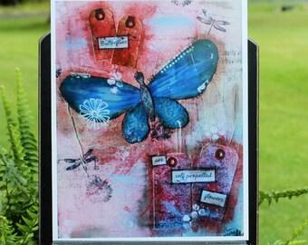Art Print of Mixed Media Original artwork titled Propelling Butterflies