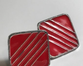 Vintage Red and Silver Enamel Square Earrings