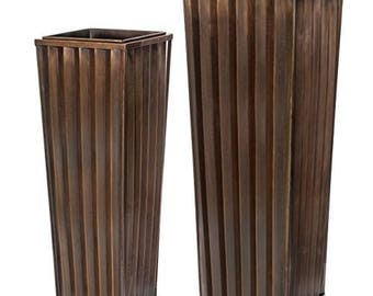 Large Ribbed Planter Set, H Potter, Tall Outdoor Indoor Planter, Antique Copper Finish, Patio, Deck, Flower Garden Planters, Garden Gift